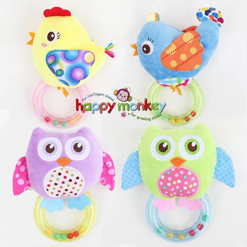 0-3 Y Baby Rattle Hand Bell Toy 5 Style Owl Bird Chicken Animals Plush Happy Monkey Gift WJ290