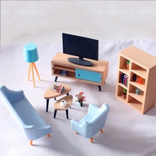 1:12 Dollhouse Miniature Furniture Wooden TV Cabinet Dolls House Accessories 1set Living Room Furniture High Quality