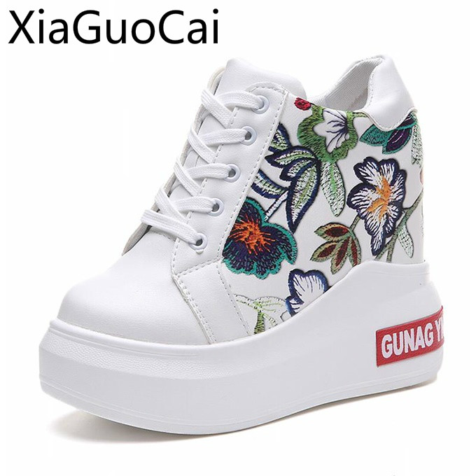 High Heels Women's Casual Shoes White Pu Wedges Women's Flat Casual Boots Leisure Print Lace Up Ladies Flat Sneakers