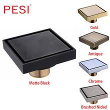 100% Brass Square Bathroom Shower Drain Tile Insert Floor Drain Antique Anti odor Drain Hair Invisible Floor Waste Grates.
