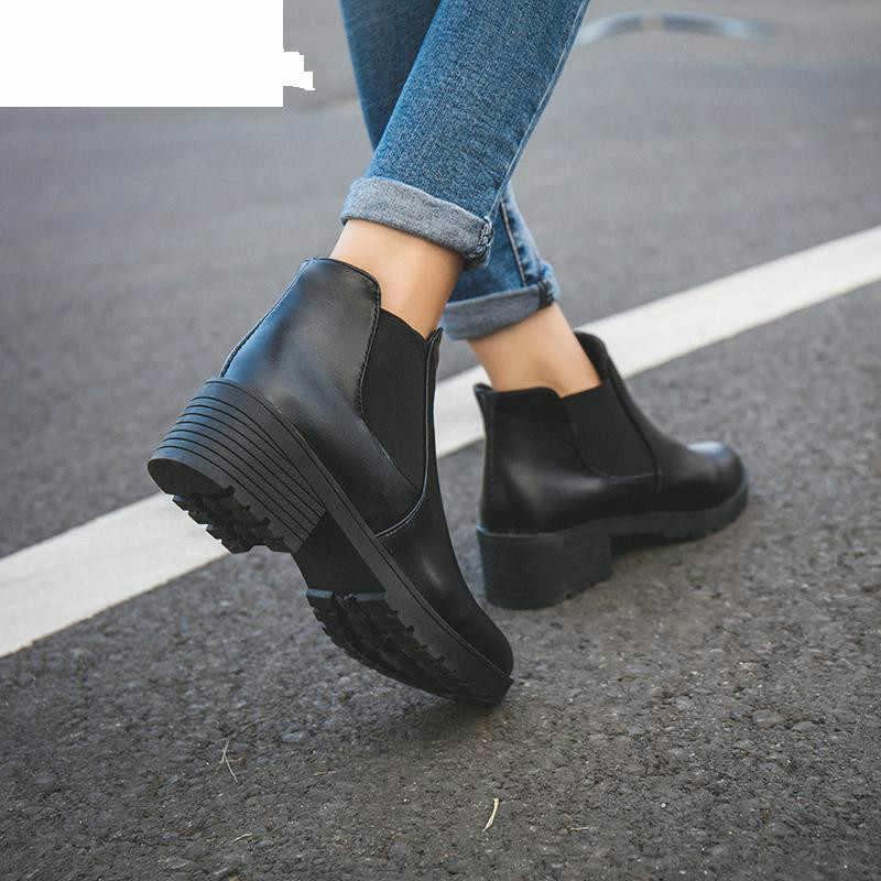 Neue Heiße Art Mode Frauen Stiefel Runde Kopf Dicken Boden Pu Leder Wasserdicht Frau Martin Stiefel Ankle Frühling/herbst 2019