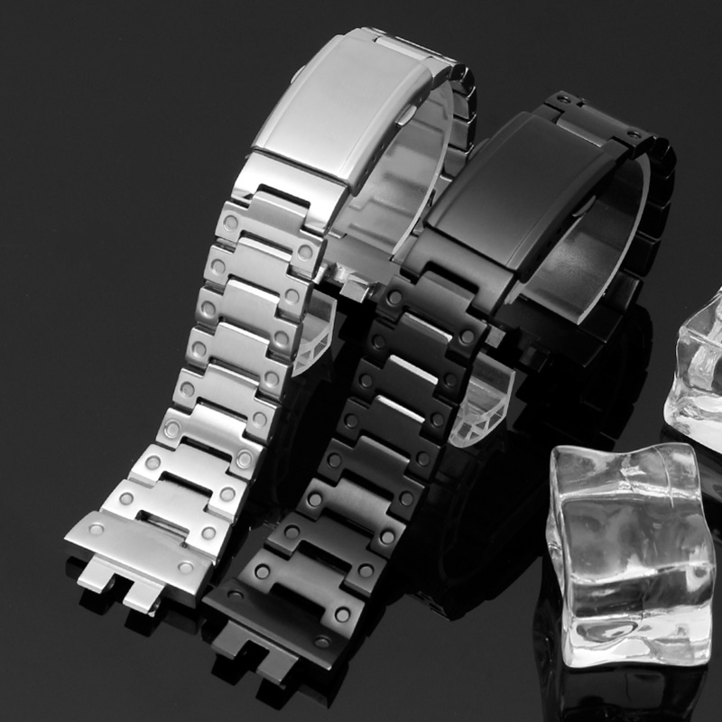 AOOW Metal Stainless Steel Watchband Wrist Bracelet For Casio G Shock Strap GMW-B5000 Series Watch Business Style Watch Strap