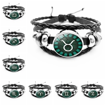 2019 Hot New 12 Constellation Animal Element Bracelet Dark Black Imprint Leo Aries Gift