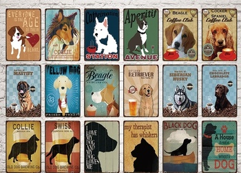 Pets Tin Sign Metal Plaque Dog And Beer Coffee Tin Plate Retro Poster Bar Pub Cafe Man Cave Decoration Metal Painting 20x30cm