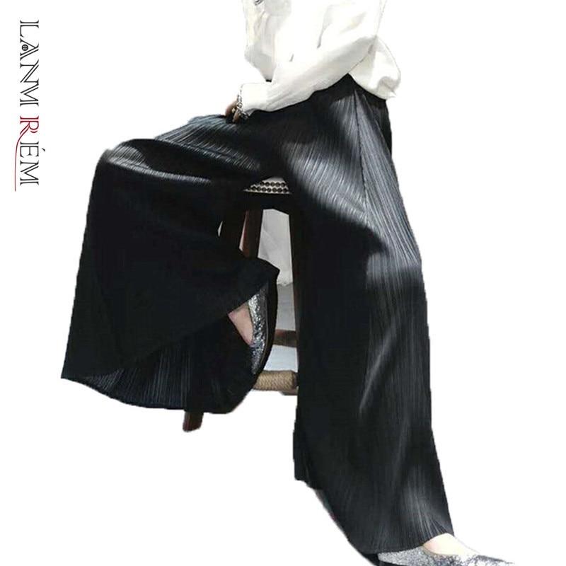 LANMREM 2020 New Spring Summer Elastic High Waist Wide Leg Pants Women Streetwear Loose All-match Pleated Trouser Tide PD746