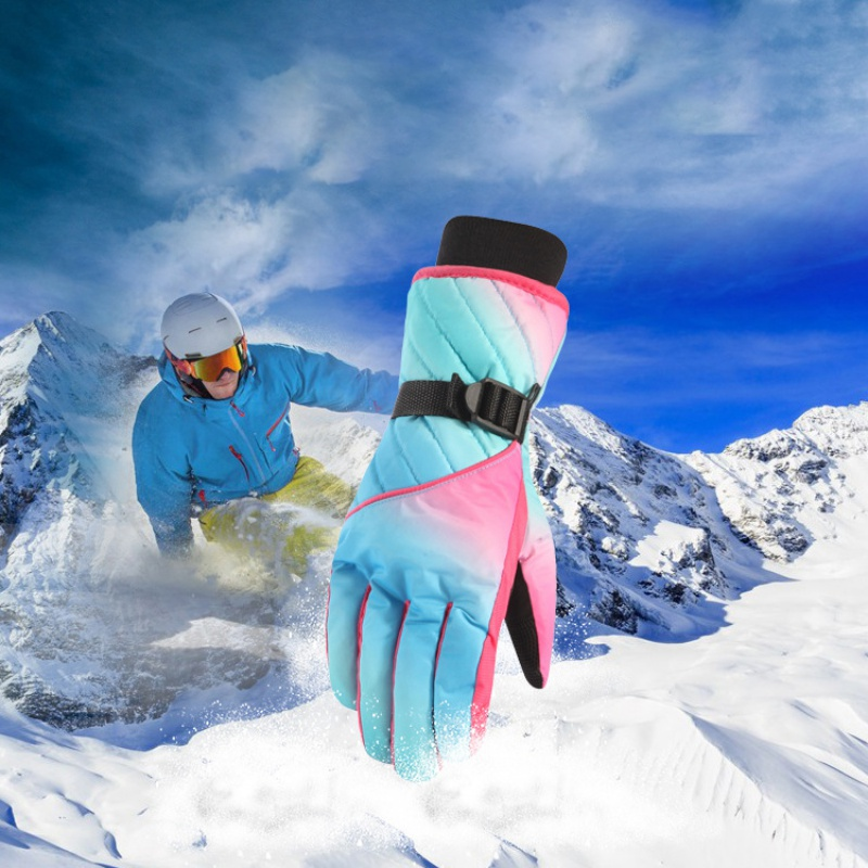 Aolikes Winter Professional Ski Gloves Girls Boys Adult Waterproof Warm Gloves Snow Kids Windproof Skiing Snowboard Gloves
