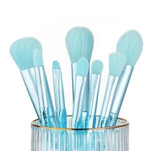 Image 2 - Jessup Make up brushes 8pcs Glacier Blue Blush Powder Eyeshadow Foundation brush Pencil Plastic handle