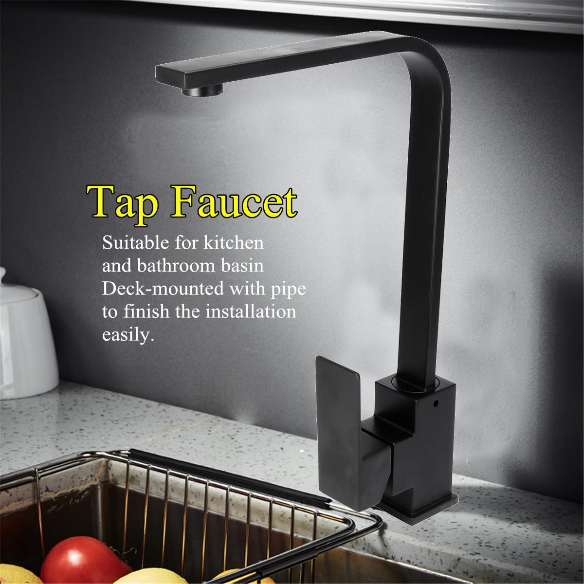 Cuisine salle de bains évier robinet mélangeur froid et chaud poignée unique bec cuisine évier mitigeur robinet robinets mat noir laiton - 2