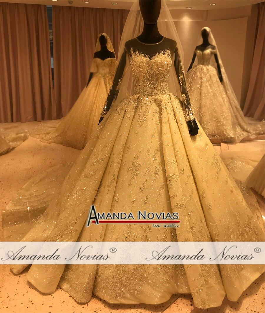 Image 5 - فستان عروس فاخر 2020 مطرز بالكامل فستان زفاف عمل حقيقي ماركة أماندا نوفيافساتين الزفاف   -