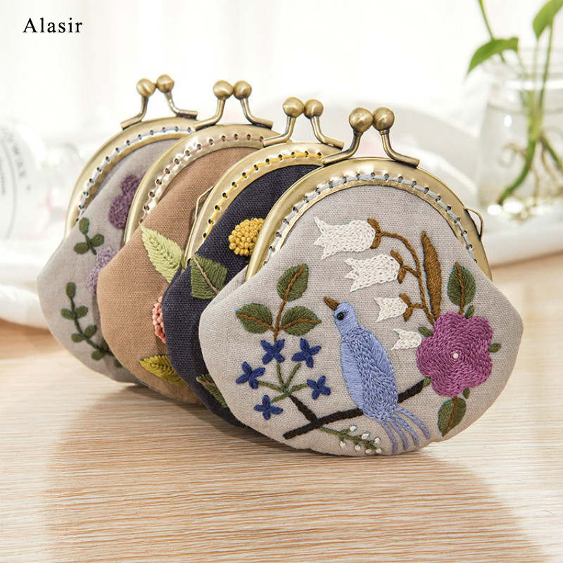 Alasir Diy Coin Purse Embroidery Flower Cotton Mini Wallets Lady Mini Money Bag Cloth Material Package Handmade Gift Canvas