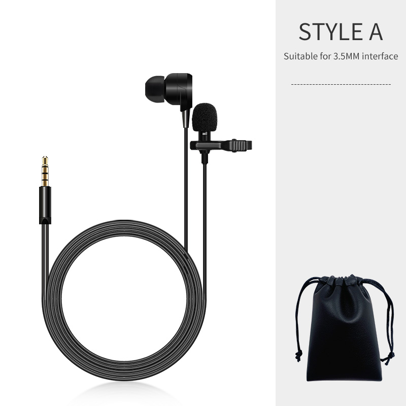 KATELEIYU mobile phone tie clip Bluetooth microphone omnidirectional metal microphone 3.5mm headphone jack Lavalier computer not(China)