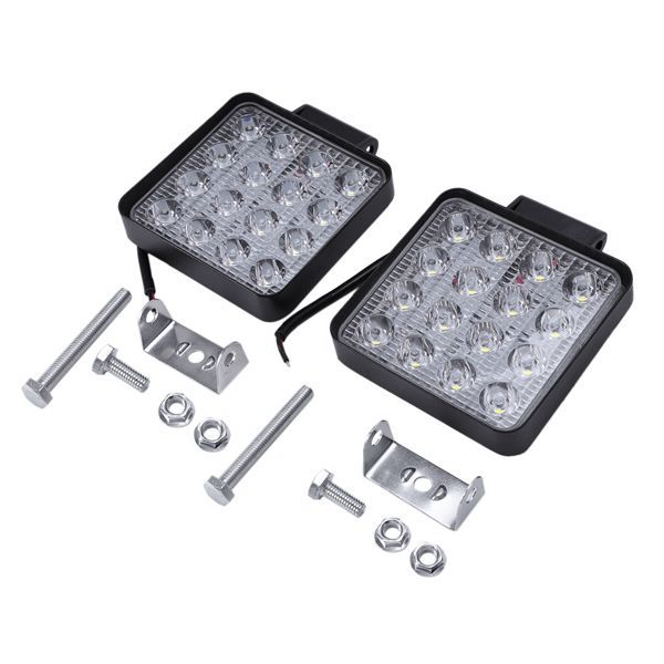 WSFS Hot 2 Pcs 48W 6000k LED Spot Beam Square Work Lights Lamp Tractor SUV Truck 4WD 12V 24V 3120lum Square LED Spotlights