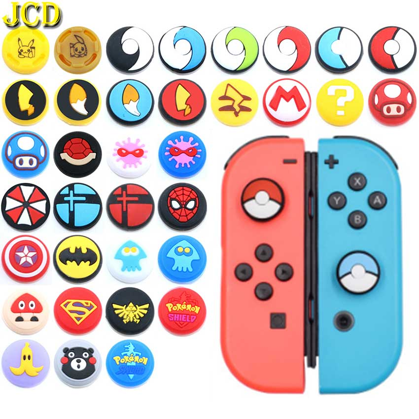 JCD 2PCS Silicone Analog Thumb Stick Grip Cap Thumbstick Joystick Cover Case For Nintend Switch NS JoyCon Controller