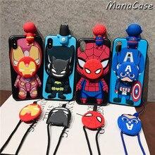 Cute 3D Marvel Cartoon Lanyard Bracket Phone Case For