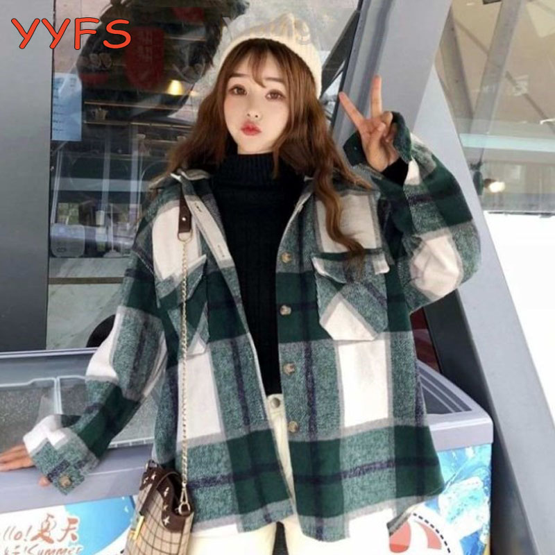 2020 Vintage plaid jacket womens Wool Blend coats Hooded streetwear korean kawaii oversized Shirts Women outerwear Chic Tops