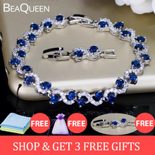 BeaQueen Charming Dark Blue Crystal Women Tennis Bracelets with Cubic Zirconia Stone 925 Sterling Silver Jewelry B016(China)