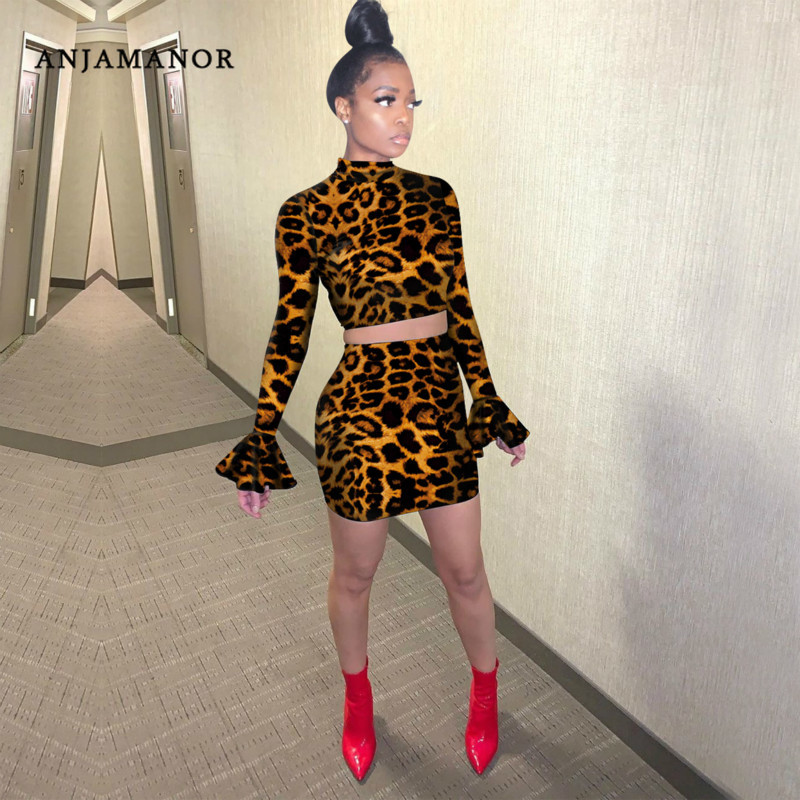 ANJAMANOR Leopard Print Sexy Two Piece Set Party Night Club Outfits Flare Long Sleeve Crop Top Mini Skirt Matching Sets D41-AD31