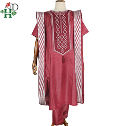H&D african men embroidered clothes shirt pants agbada suit tops with tassel traditional formal attire boubou africain PH8052