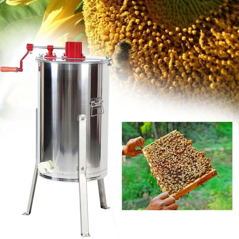 Large Three 3 Frame Stainless Steel Honey Extractor Bee Farm Beekeeping Tool