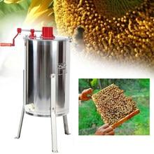 Yonntech-Extractor de miel grande de 3 Marcos, acero inoxidable, giratorio de panal, manivela, Herramientas de apicultura de granja de abejas