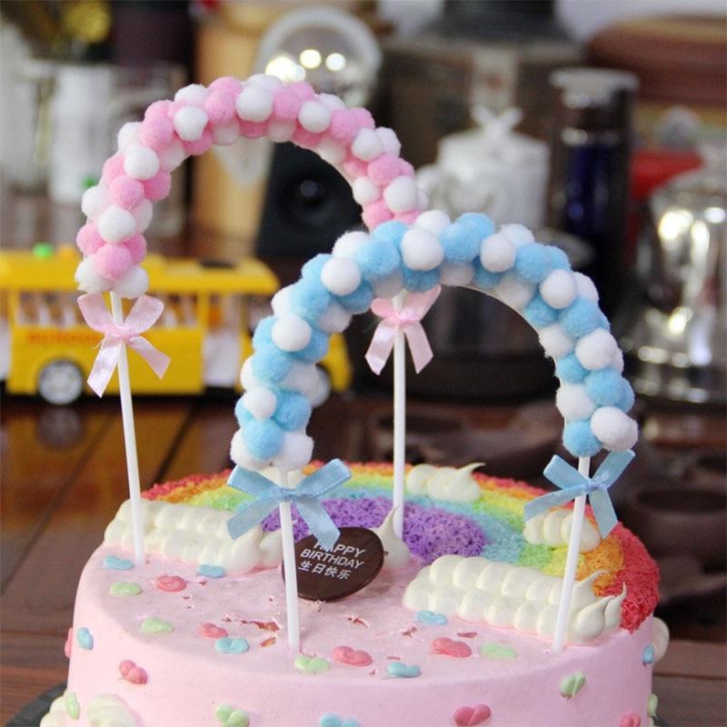 Surprising 1Pcs Hot Pink Blue Soft Pompom Cloud Cake Topper Baby Shower Birthday Cards Printable Inklcafe Filternl