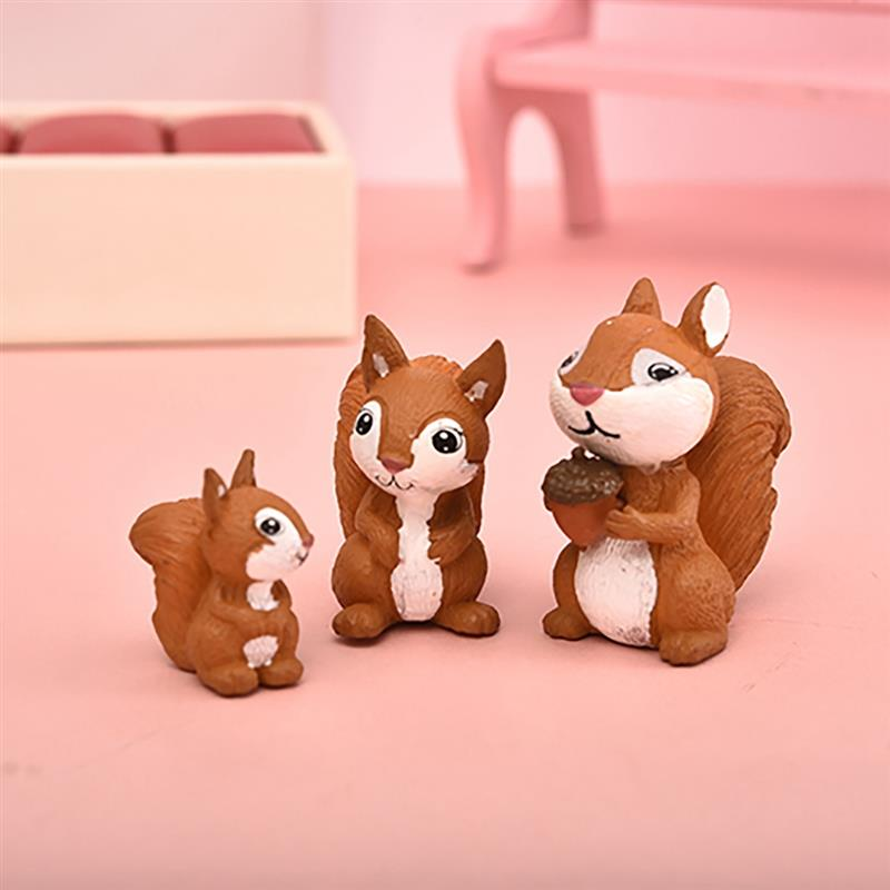 3pc Cute Squirrel Family Figurine Model Garden Fairy Ornament Glass DIY Accessories Home Decoration Decor Miniature Toy Craft
