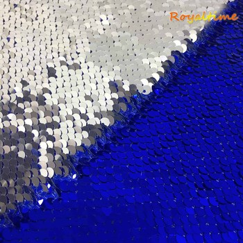 Double Face Sequins Fabric For Handbags Garments DIY Tissue Sewing Fabric Material Craft Making Accessories-Royal Blue-Silver image