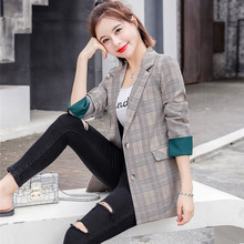 Best Selling Ladies Small Suit Jacket Early Autumn Check Suit Collar Long Sleeve Jacket Autumn New Casual Retro Ladies Coat Tops new ladies autumn corduroy retro jacket
