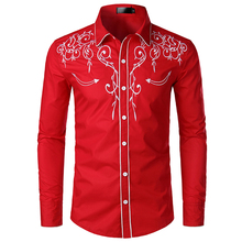Fashion Western Denim Shirt Men's Design Embroidered Slim Long Sleeve Shirt Men's Wedding Party Casual Shirt Men long sleeve patch design suede insert denim shirt