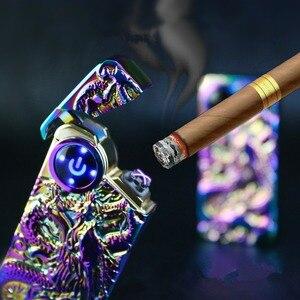 Image 5 - Plasma USB Leichter Touch senstive Schalter Leichter Zigaretten Für Rauchen Ciga Elektronische Leichter Gravieren Name Super Dünne Lightr