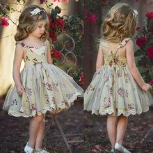 Детское платье принцессы с цветочным рисунком для девочек; Летнее кружевное платье без рукавов с цветочным рисунком для маленьких девочек; ...