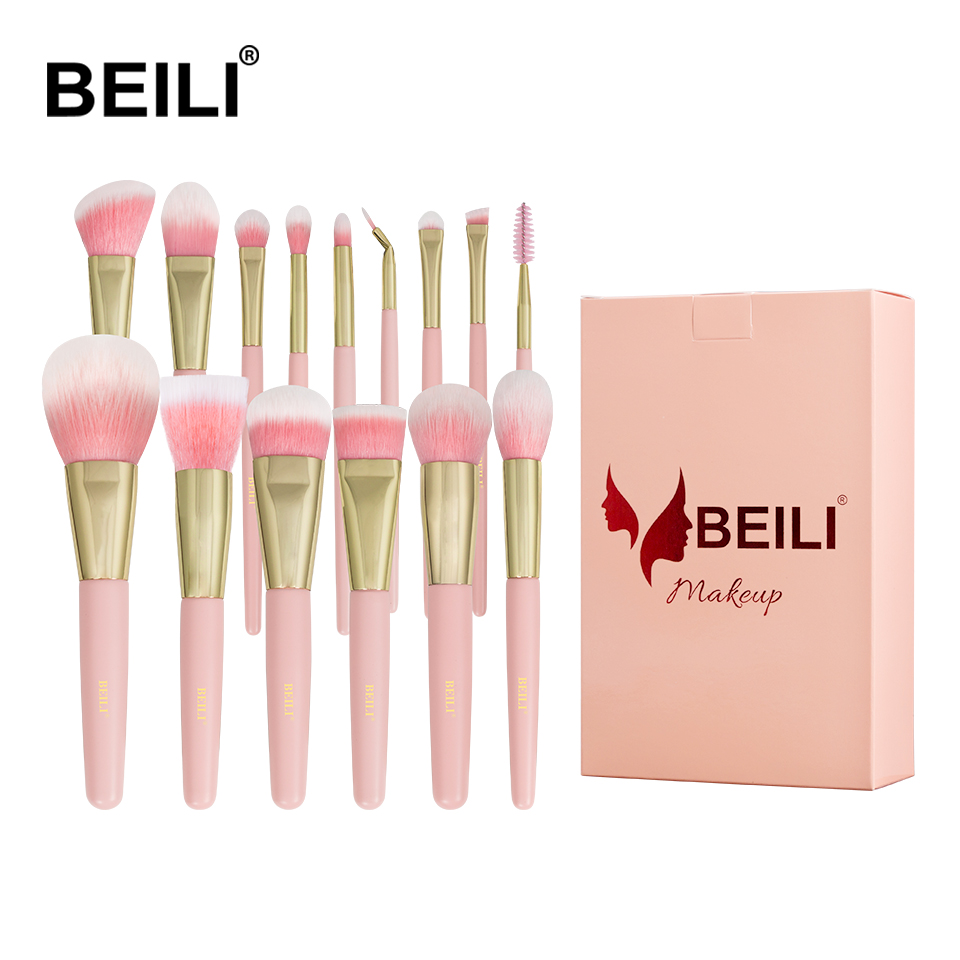 BEILI box packing 15pcs makeup brushes set matte Pink Highlight Foundation Powder Eye shadow pro brush brochas maquillaje