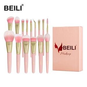 Image 1 - BEILI box packing 15pcs makeup brushes set matte Pink Highlight Foundation Powder Eye shadow pro brush brochas maquillaje
