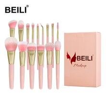 BEILI caixa de embalagem 15 pcs pincéis de maquiagem conjunto matte Pink Highlight Foundation Pó sombra de olho pro escova brochas maquillaje