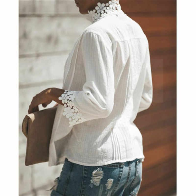 固体白人女性の長袖ブラウスは女性中空花柄レースシャツエレガントなシャツ女性服 2019 パーティーカジュアルトップス