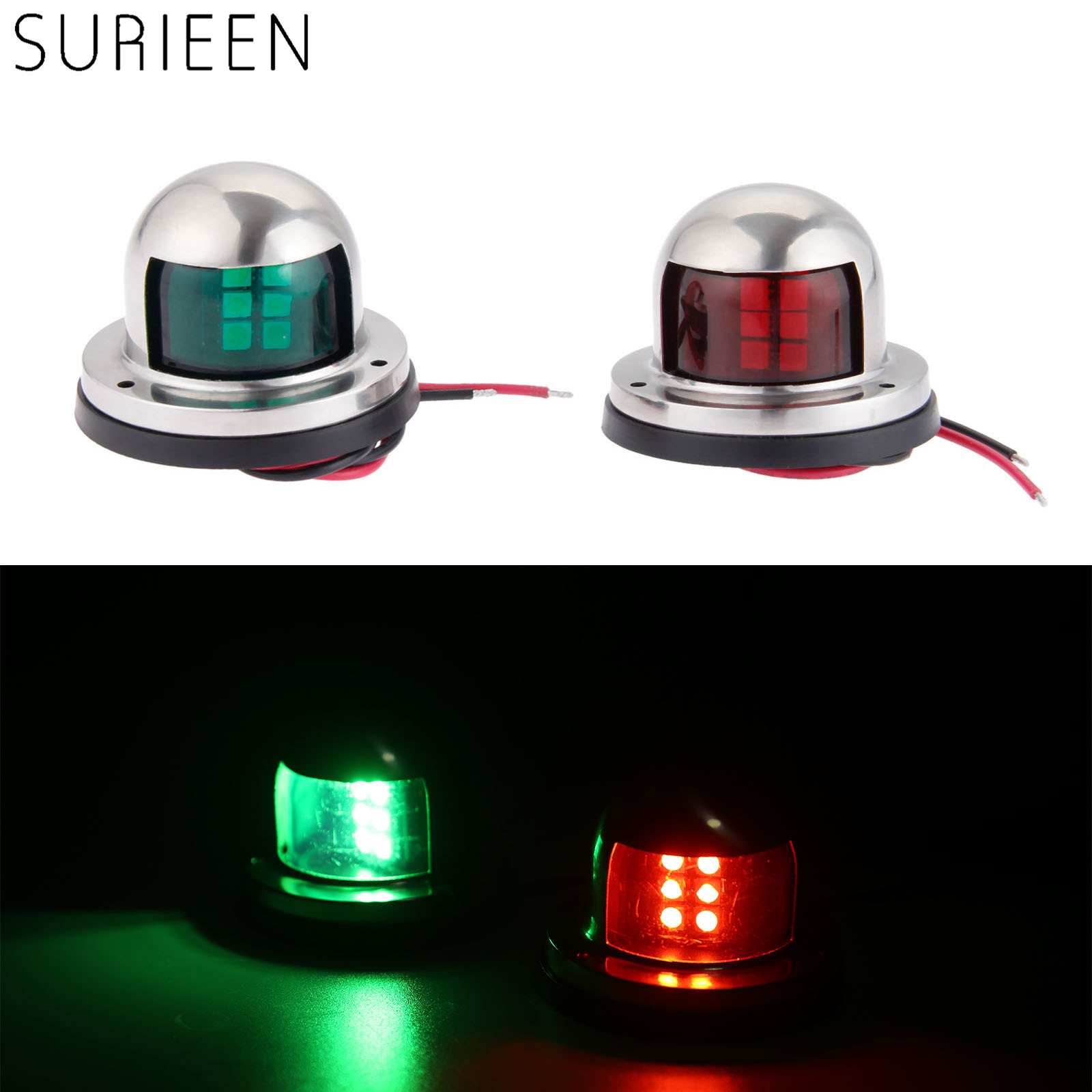1 Pair 2pcs Boat Accessories Stainless Steel 12V LED Bow Sailing Signal Navigation Lamp Red Green Light For Marine Yacht Pontoon