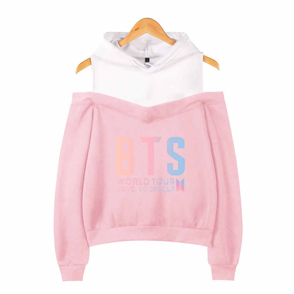 Cross Border for BTS Bulletproof Boys Related Products New Style LOVE Yourself Women's off-Shoulder Hoodie