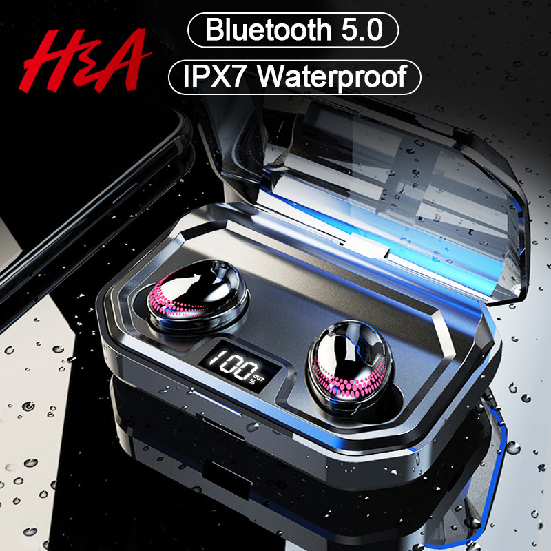 H&A TWS Bluetooth V5.0 HIFI Wireless Earphones Headphone 8D Stereo Sport Earbuds Headset With Charging Box Mic For IPhone Xiaomi