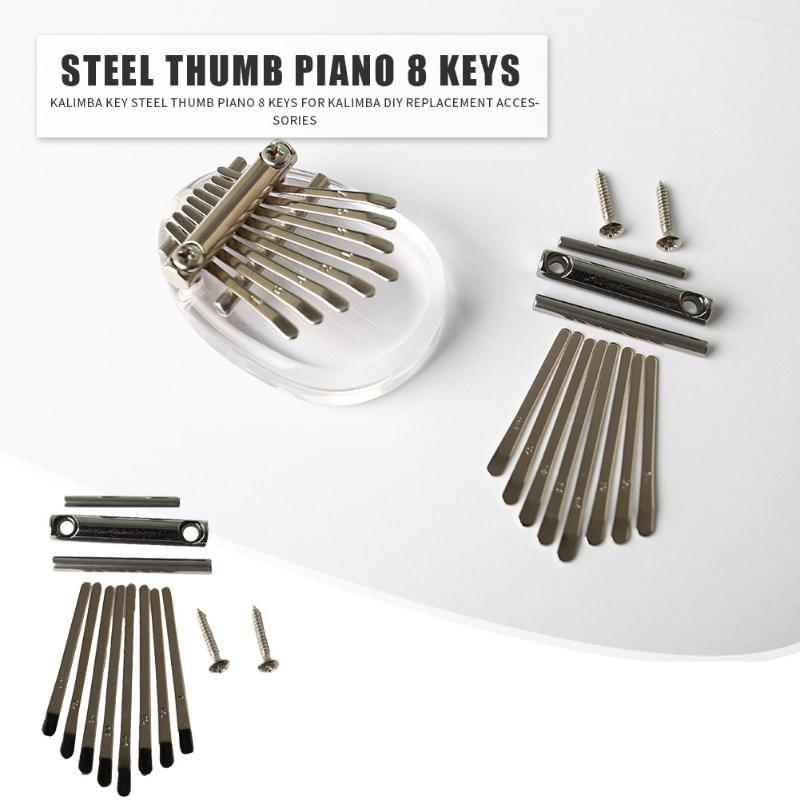 8 Keys Kalimba DIY Set Thumb Piano Shrapnel Lettering Keyboard Stenciled Scale Identification for Musical Instrument Parts