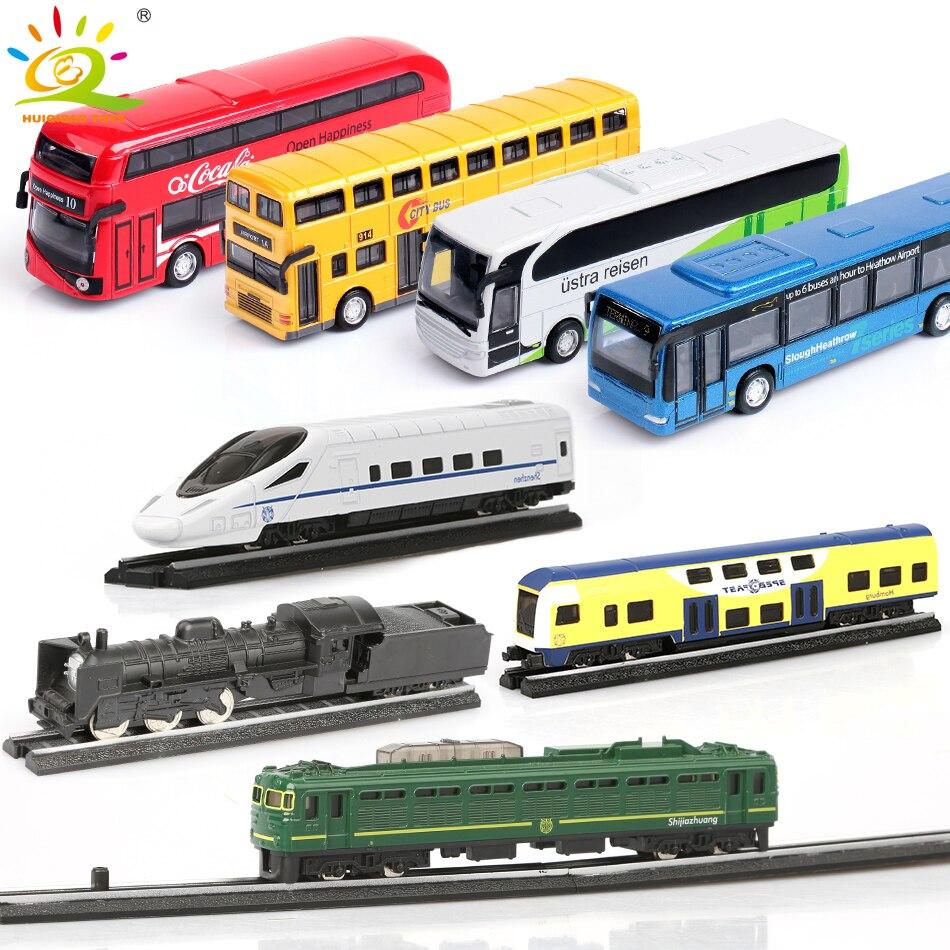 4pcs/set School Bus Car Steam Track Train High speed rail Metal Alloy Models Diecasts Model Building Kits For Children kids