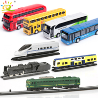 4pcs/set School Bus Car Steam Track Train High speed rail Metal Alloy Models Diecasts Model Building Kits For Children kids