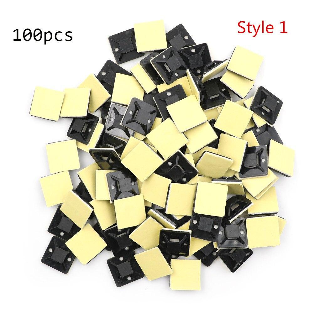 100 шт. самоклеющиеся приклеивающиеся крепления для кабельных стяжек/прокладки станок провода и зажим основания кабеля зажим