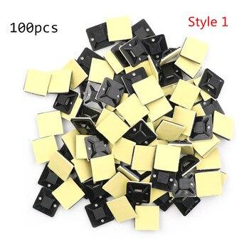 100 Uds. Soportes autoadhesivos para sujetar cables con abrazaderas. 2