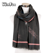 Winfox New Fashion Black Ladies Viscose Shawl Scarf Autumn Winter Muffler Headband Foulard Sjaal Wrap Hija