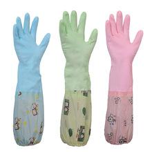 Naczynia do mycia naczyń z długim rękawem rękawice do sprzątania gospodarstwa domowego kuchnia wodoodporne rękawice do mycia naczyń opaski gumowe rękawice do szorowania tanie tanio Aihogard 100-140g Średni latex Czyszczenie Velvet podkładowe lateksowe Dishwashing House Cleaning PVC + Oxford cloth Pink Blue Green