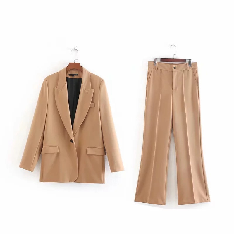 Women Suits Pants Suit Autumn New Slim Solid Color Long-sleeved Blazer Casual Trumpet Trousers Office Suit Female 2019