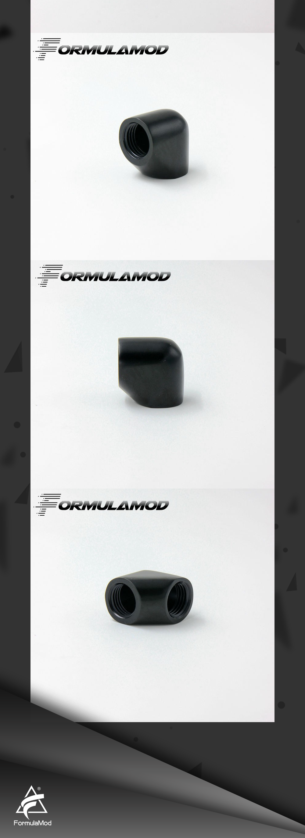 FormulaMod Fm-D90 Black/Silvery double internal G1/4'' thread 90 degree Fitting Adapter water cooling Adaptors