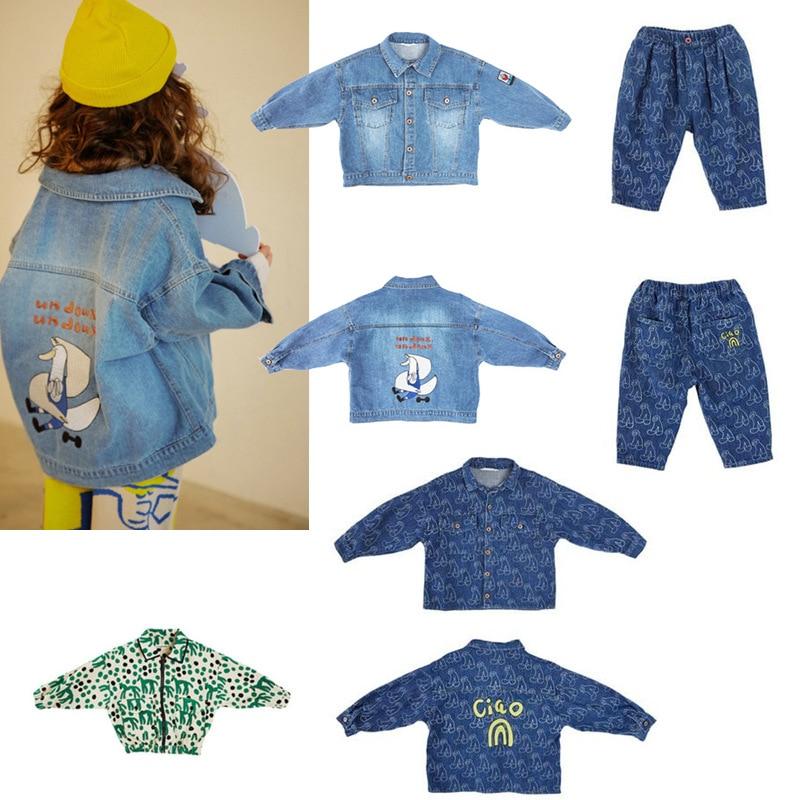 2020 New Autumn Winter Kids Denim Jacket for Boys Girls Cute Cartoon Print Coat Baby Children Fashion Outwear Brand Clothes 1