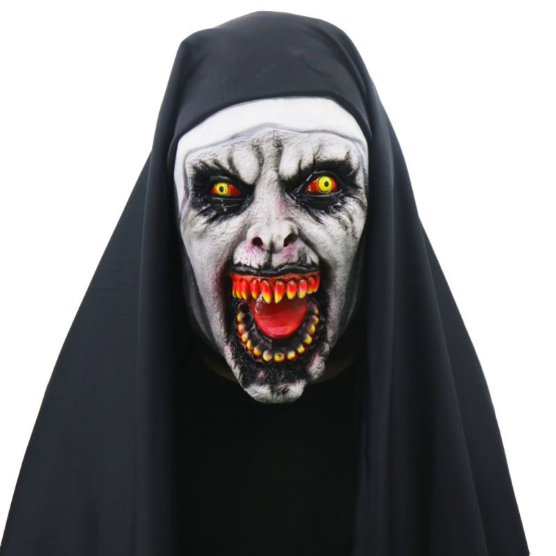 Halloween Nun Horror Mask Cosplay Scary Latex Masks With Headscarf Full Face Covered Halloween Party Props Adults Children