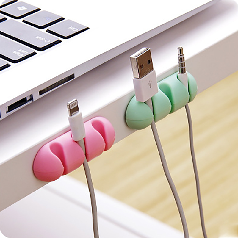 2pcs/lot Candy <font><b>Cable</b></font> <font><b>Organizer</b></font> Silicone USB <font><b>Cable</b></font> Winder Desktop Tidy Management Clips <font><b>Cable</b></font> Holder for Mouse Headphone Wire image